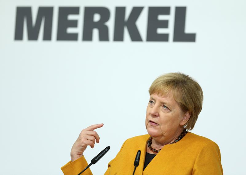 German Chancellor Angela Merkel speaks during her visit of Herrenknecht AG in Schwanau, Germany, October 7, 2019. REUTERS/Ralph Orlowski