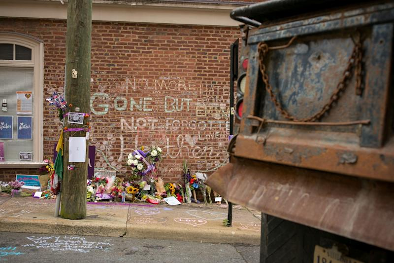 The makeshift memorial for Heather Heyer in Charlottesville, Virginia, on August 11, 2018, on the year anniversary of the Unite the Right rally