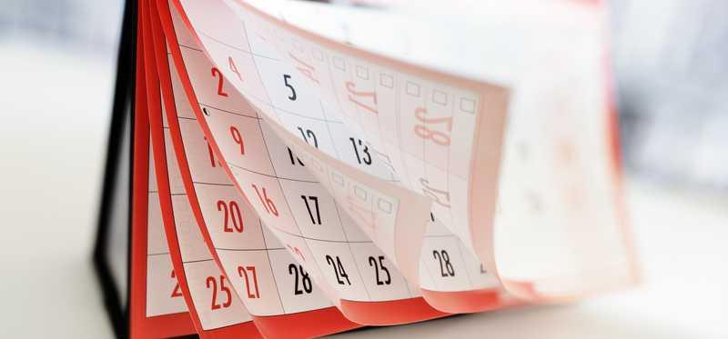 A calendar with months fanned out.
