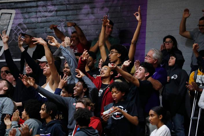 Students at a basketball game in Goodyear, Ariz., on Feb. 6, 2020.