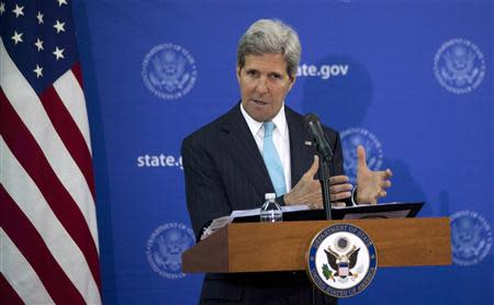 U.S. Secretary of State Kerry speaks during a news conference in Juba