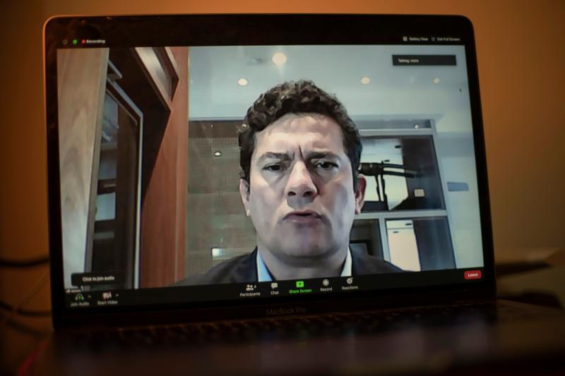 Former Brazilian Minister of Justice and Public Security, Sergio Moro, is seen on a laptop's screen in Rio de Janeiro, Brazil, as he speaks during a video interview with AFP from Curitiba, Parana state, Brazil, on July 6, 2020. (Photo by MAURO PIMENTEL / AFP) (Photo by MAURO PIMENTEL/AFP via Getty Images)