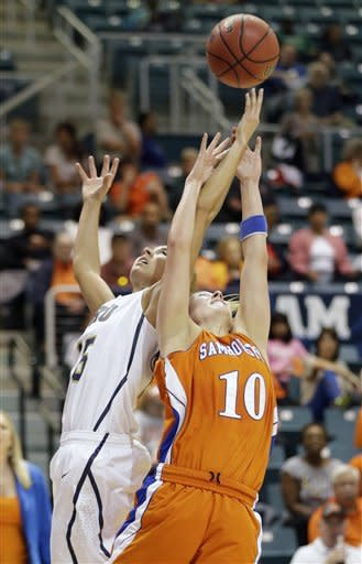 Oral Roberts' Kevi Luper (15) and Sam Houston State's Britni Martin (10) reach for a rebound during the first half of the Southland Conference championship NCAA college basketball game Saturday, March 16, 2013, in Katy, Texas. (AP Photo/David J. Phillip)