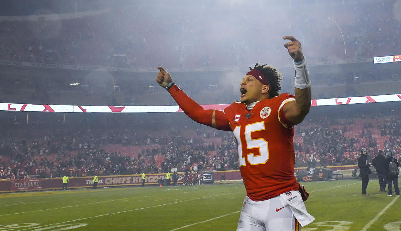 Patrick Mahomes is loving life. (Rich Sugg/Kansas City Star/Tribune News Service via Getty Images)