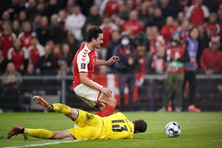 Austrian goalkeeper Daniel Bachman frustrated Thomas Delaney and Denmark for much of the match (AFP/Liselotte Sabroe)