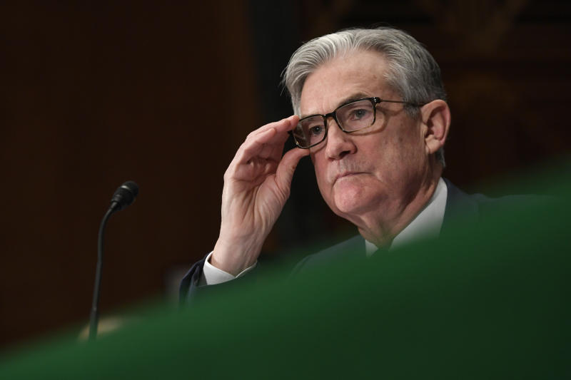 Federal Reserve Chairman Jerome Powell pauses as he testifies before the Senate Banking Committee on Capitol Hill in Washington, Wednesday, Feb. 12, 2020, during a hearing on the Monetary Policy Report. (AP Photo/Susan Walsh)