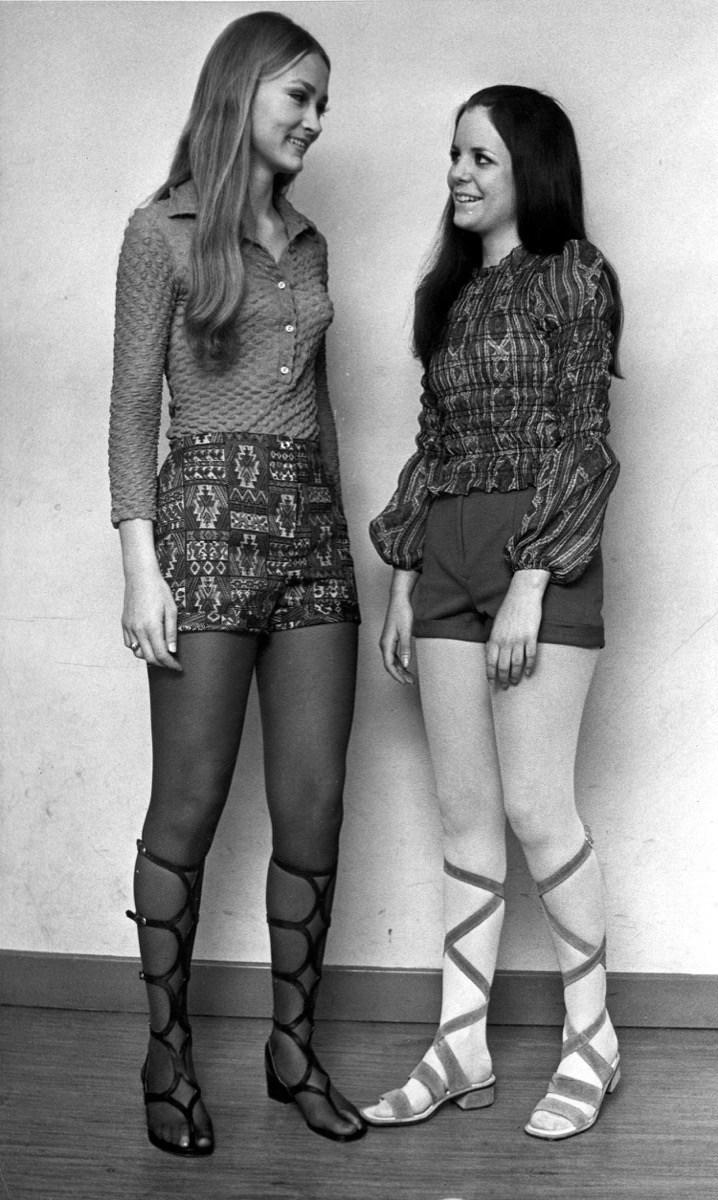 woman wearing a set of hot pants in 1971