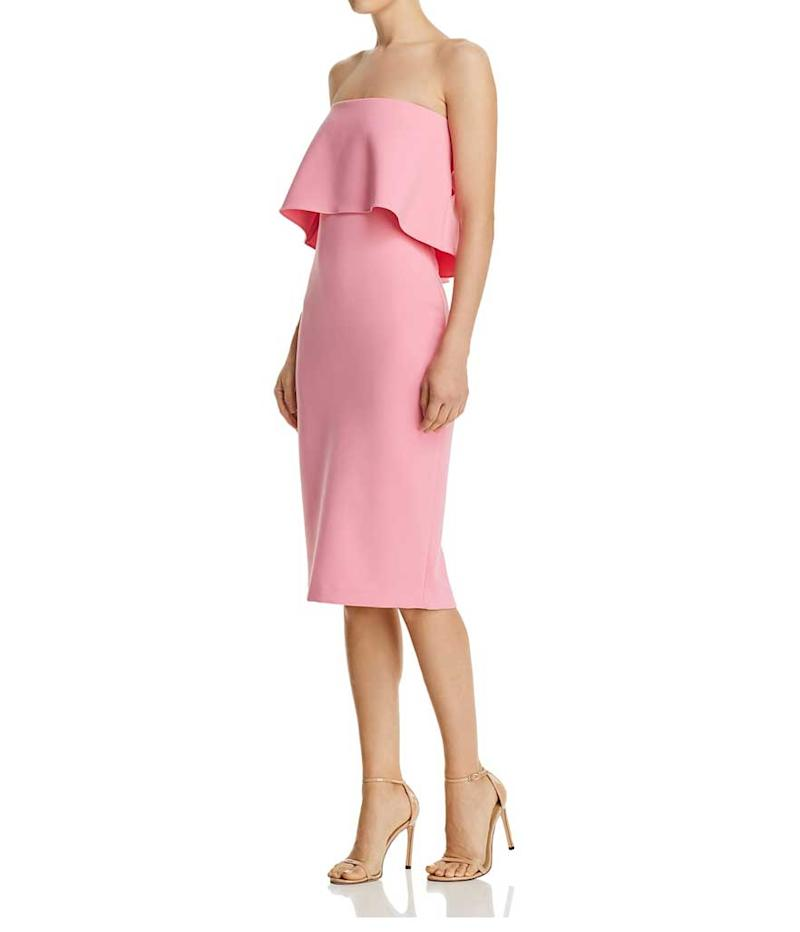 Strapless pink ruffle dress. (Photo: Likely/Bloomingdales)