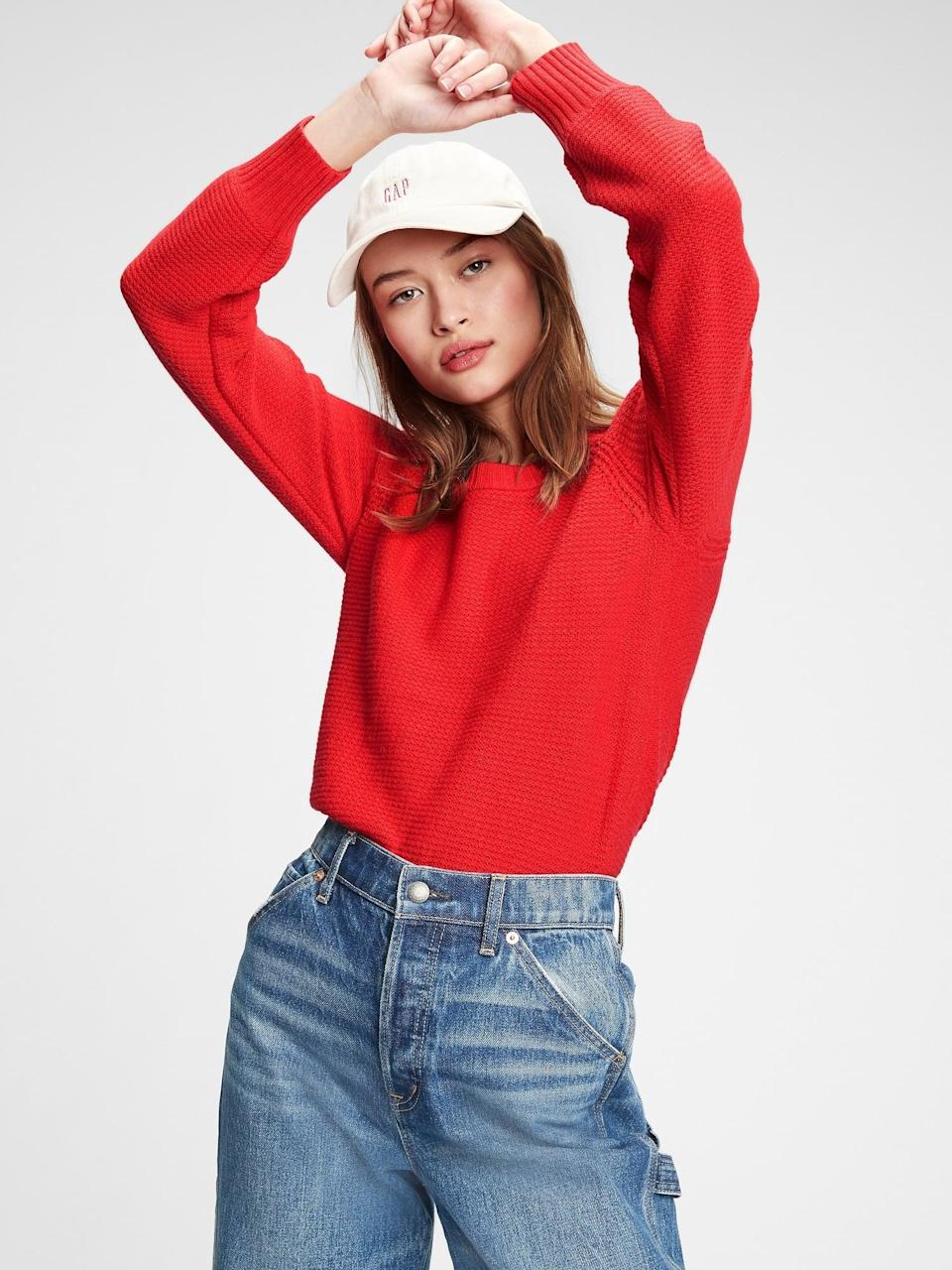 <p>This <span>Gap True Soft Textured Crewneck Sweater</span> ($25, originally $70) feels like a Valentine's Day hug.</p>