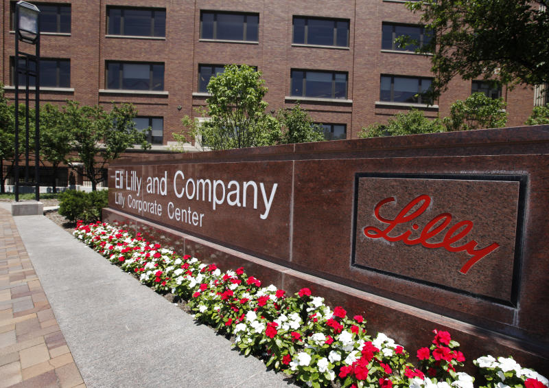 A sign in from of the Eli Lilly and Co corporate headquarters is pictured in Indianapolis, Thursday, June 30, 2011. Eli Lilly and Co. is only months away from losing patent protection for its top-selling drug, and told investors Thursday the keys to overcoming this and other patent losses lie in its labs and emerging markets like China.  (AP Photo/Darron Cummings)