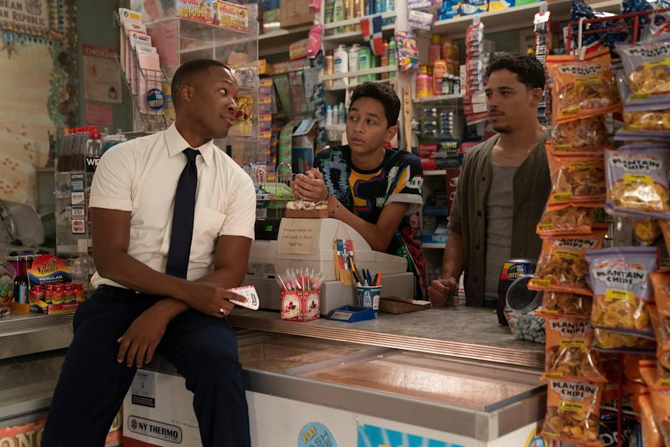 Corey Hawkins, Gregory Diaz IV and Anthony Ramos in In the Heights (Macall Polay)