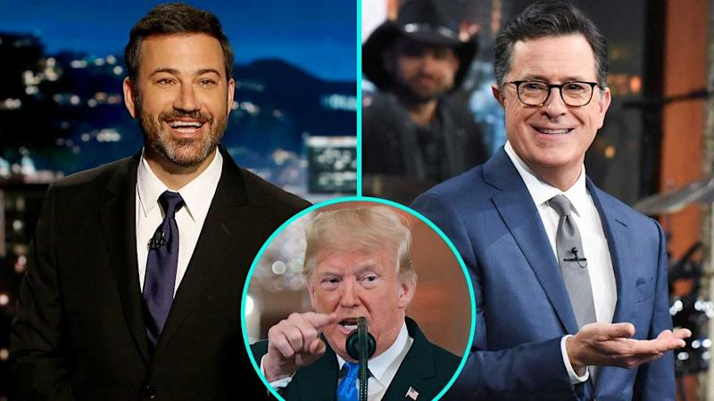Jimmy Kimmel & Stephen Colbert Mock Donald Trump Over Heated Press Conference