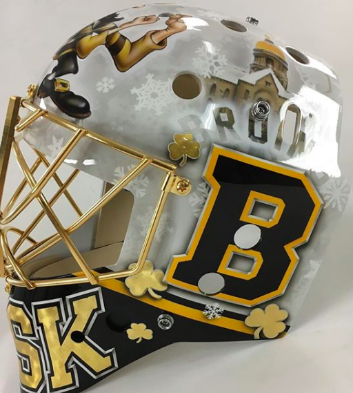 3ed30a062 Rask gets into Notre Dame spirit with Winter Classic mask