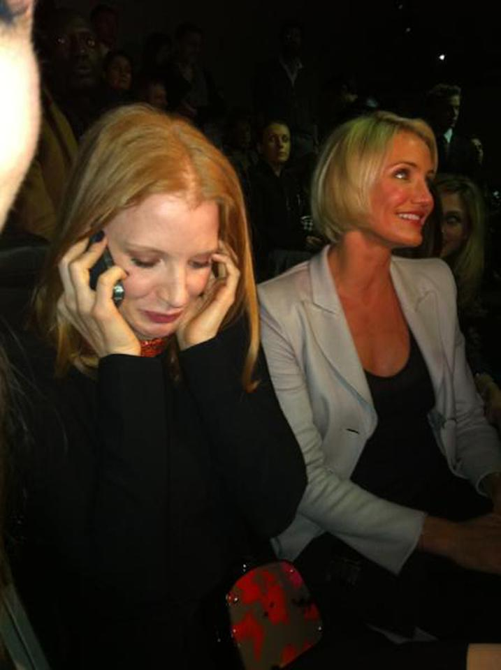 "Best Supporting Actress nominee Jessica Chastain received the good news while she was sitting front row at Paris Fashion Week's Armani Prive show. A Vogue magazine editor <a target=""_blank"" href=""http://www.theinsider.com/movies/49092_Jessica_Chastain_Oscar_call_picture/"">photographed her</a> receiving the phone call and near tears, just before the show started. Cameron Diaz was sitting next to her and appeared to celebrate the good news."