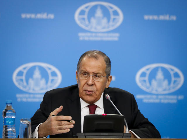 Russian Foreign Minister Sergey Lavrov speaks about his department's 2018 accomplishments during his annual roundup news conference in Moscow, Russia, Wednesday, Jan. 16, 2019. Lavrov has told a news conference that U.S. media reports claiming that Trump might have been a Russian agent reflect a dramatic plunge in standards of journalism. Trump said this week he never worked for Russia. (AP Photo/Pavel Golovkin)