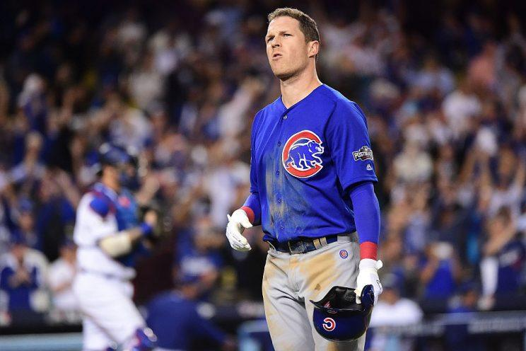 LOS ANGELES, CA - OCTOBER 18: Chris Coghlan #8 of the Chicago Cubs reacts after lining out to end the game against the Los Angeles Dodgers in the ninth inning of game three of the National League Championship Series at Dodger Stadium on October 18, 2016 in Los Angeles, California. (Photo by Harry How/Getty Images)