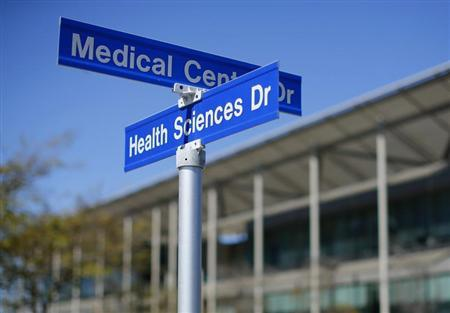 Street signs are pictured at the University of California San Diego (UCSD) in San Diego