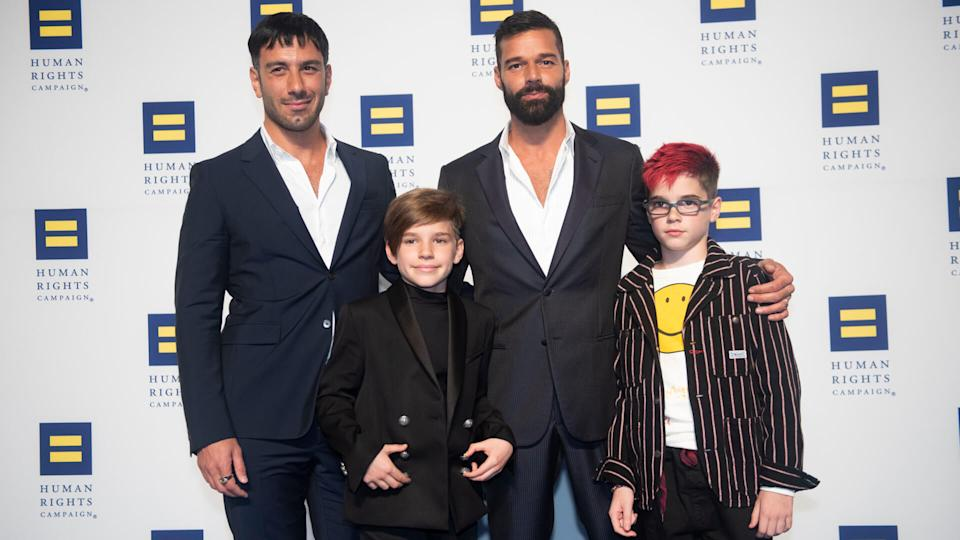 Mandatory Credit: Photo by Kevin Wolf/AP/Shutterstock (10429501c)Ricky Martin, his husband Jwan Yosef and their twins arrive at the 2019 Human Rights Campaign National Dinner on in Washington.