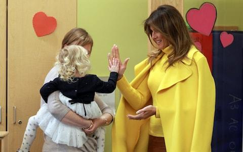 Melania Trump met children from Cincinnati Children's Hospital in February - Credit: REUTERS/ John Sommers II