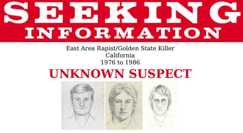 This undated photo released by the FBI shows artist renderings of a serial killer and rapist, also known as the East Area Rapist and Golden State Killer from 1976 to 1986.