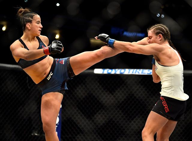 In her UFC debut on Nov. 10, 2018, Maycee Barber (L) defeated Hannah Cifers via TKO in the second round at UFC Denver. (Getty Images)