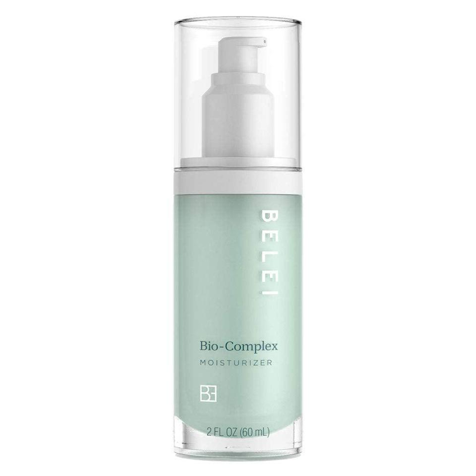 """<h3><h2>Bio-Complex Moisturizer</h2></h3><br>""""I normally use a face oil as moisturizer, so this was a new consistency for me. Water-based moisturizers tend to irritate my skin after having used an oil for so long, so I was pleasantly surprised when Belei's did not. At all. While the consistency took some getting used to, I really did like the way this made my skin feel — super-hydrated, almost velvety, but not greasy at all."""" — Emily Ruane, Fashion Market Writer<br><br><strong>Belei</strong> Bio-Complex Moisturizer, $, available at <a href=""""https://amzn.to/2SKzNuC"""" rel=""""nofollow noopener"""" target=""""_blank"""" data-ylk=""""slk:Amazon"""" class=""""link rapid-noclick-resp"""">Amazon</a>"""
