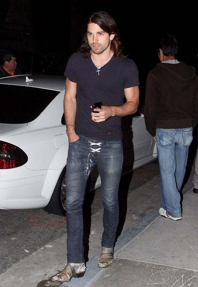 "When Miley Cyrus broke up with former underwear model Justin Gaston last June we were beyond perplexed. Now that we've seen him in these lace-up jeans, we understand why she dumped the horribly dressed hunk. David Tonnessen/<a href=""http://www.pacificcoastnews.com/"" target=""new"">PacificCoastNews.com</a> - May 5, 2010"