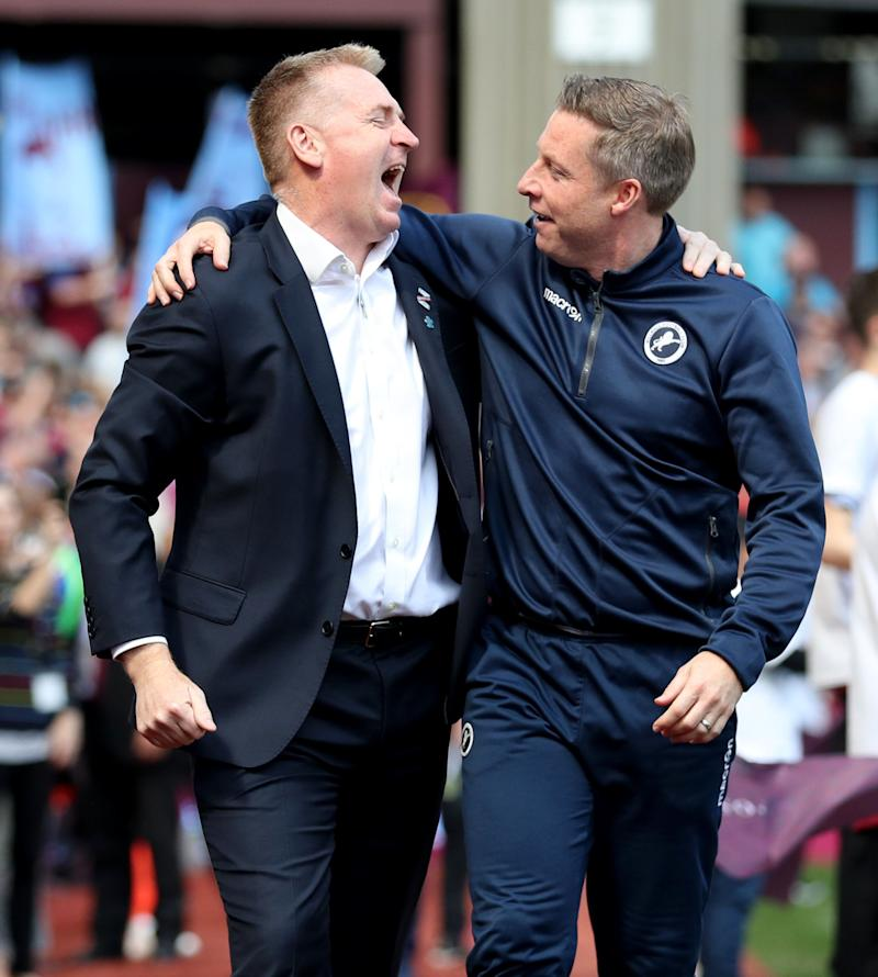 Aston Villa's manager Dean Smith (left) and Millwall manager Neil Harris Aston Villa v Millwall - Sky Bet Championship - Villa Park 22-04-2019 . (Photo by Bradley Collyer/EMPICS/PA Images via Getty Images)