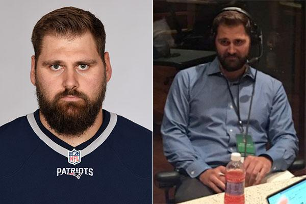 Sebastian Vollmer pictured last year (left) and now (right). (AP/Twitter.com/SiriusXMNFL)