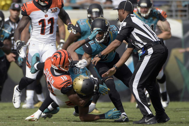 Cincinnati Bengals wide receiver A.J. Green and Jacksonville Jaguars cornerback Jalen Ramsey got in a fight Sunday. (AP)