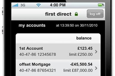 First Direct iPhone app showing offset mortgage balance