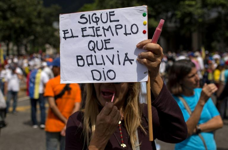 """An opposition supporter carries a sign reading """"Follow Bolivia's example"""""""