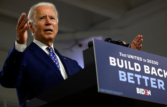 """US Democratic presidential candidate and former Vice President Joe Biden gestures as he speaks during a campaign event at the William """"Hicks"""" Anderson Community Center in Wilmington, Delaware on July 28, 2020. (Photo by ANDREW CABALLERO-REYNOLDS / AFP) (Photo by ANDREW CABALLERO-REYNOLDS/AFP via Getty Images)"""