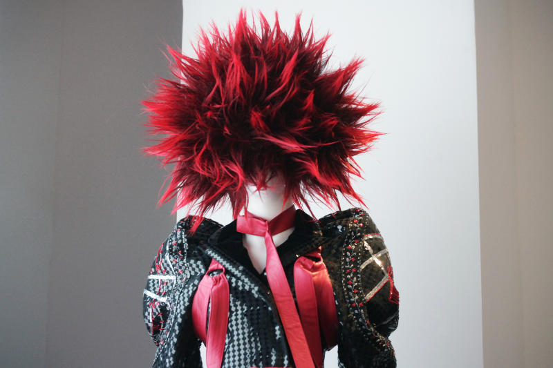 "A late 1970's ensemble of fashion by Vivienne Westwood and Malcolm McLaren is shown at the Metropolitan Museum of Art's exhibit, ""Punk: Chaos to Couture,"" Monday, May 6, 2013 in New York. The show, which examines punk's impact on high fashion from the movement's birth in the 1970s through its continuing influence today, is open May 9 through August 14. (AP Photo/Mark Lennihan)"