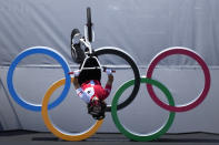 Nikita Ducarroz of Switzerland competes in the women's BMX freestyle final at the 2020 Summer Olympics, Sunday, Aug. 1, 2021, in Tokyo, Japan. (AP Photo/Ben Curtis)