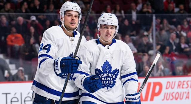 Auston Matthews and Mitch Marner are always centre stage. (Getty)