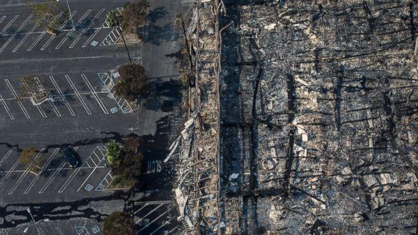 PHOTO: An aerial view of a K-Mart destroyed by the wildfire along the 101 freeway in Santa Rosa, Calif., Oct. 11, 2017. (Marcus Yam/Los Angeles Times/Polaris)