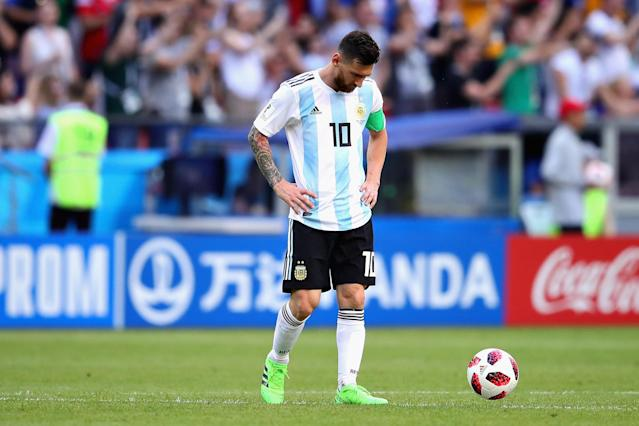 Lionel Messi of Argentina looks dejected during the 2018 FIFA World Cup Russia Round of 16 match between France and Argentina at Kazan Arena on June 30, 2018 in Kazan, Russia. (Getty Images)
