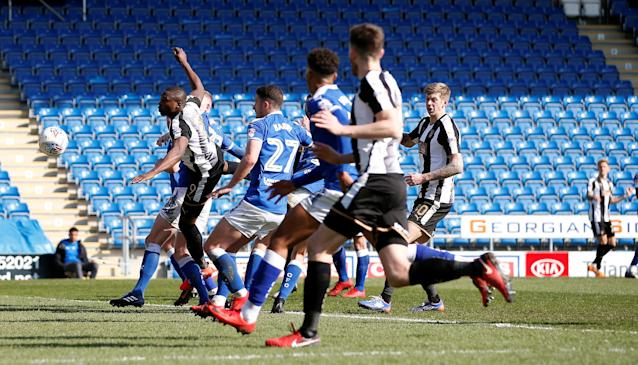 "Soccer Football - League Two - Chesterfield vs Notts County - Proact Stadium, Chesterfield, Britain - March 25, 2018 Notts County's Dan Jones (R) scores his sides first goal direct from a free kick Action Images/Craig Brough EDITORIAL USE ONLY. No use with unauthorized audio, video, data, fixture lists, club/league logos or ""live"" services. Online in-match use limited to 75 images, no video emulation. No use in betting, games or single club/league/player publications. Please contact your account representative for further details."