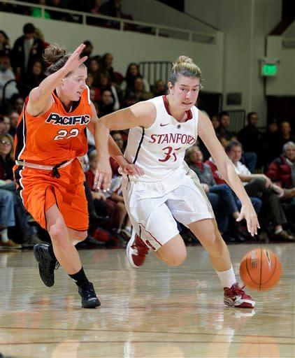 Stanford's Toni Kokenis (31) dribbles next to Pacific's Erica McKenzie (22) during the first half of an NCAA women's college basketball game in Stanford, Calif., Saturday, Dec. 15, 2012. (AP Photo/Marcio Jose Sanchez)