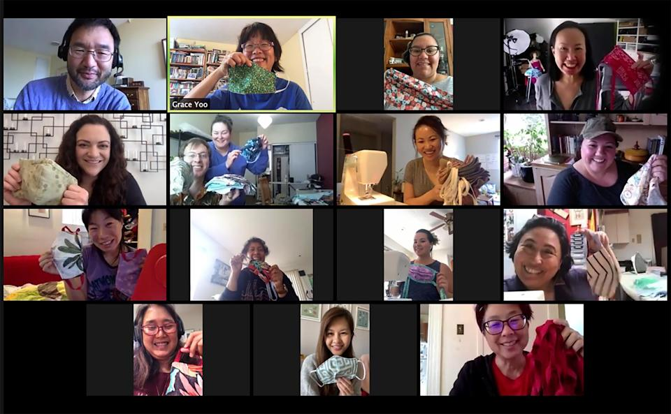 "Screenshot of Auntie Sewing Squad ""Stitch and Bitch Meeting"" on April 4<span class=""copyright"">Courtesy Auntie Sewing Squad</span>"
