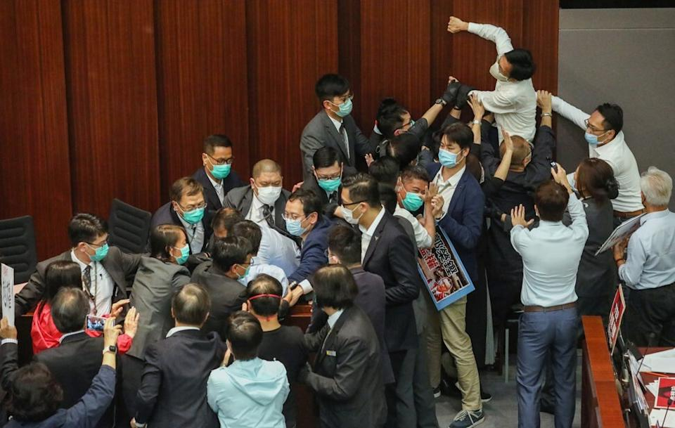 There was chaos at the May 8 meeting of the House Committee in Hong Kong's legislature. Photo: Dickson Lee