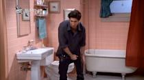 <p>If anyone knows the struggle of wearing leather pants, it's Ross.<i> (Photo: NBC)</i></p>