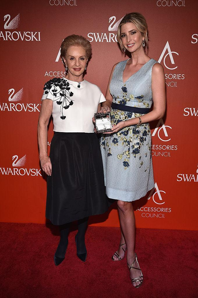 Designer Carolina Herrera poses with Ivanka Trump, Real Estate Developer and her Breakthrough Award at 19th Annual Accessories Council ACE Awards on November 2, 2015 in New York City. (Photo by Bryan Bedder/Getty Images for Accessories Council)
