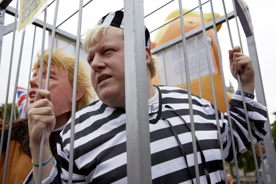 Trump protestors dress as Boris Johnson in Parliament Square outside Westminster on June 4, 2019 in London. (Photo By Alex McBride/Getty Images)