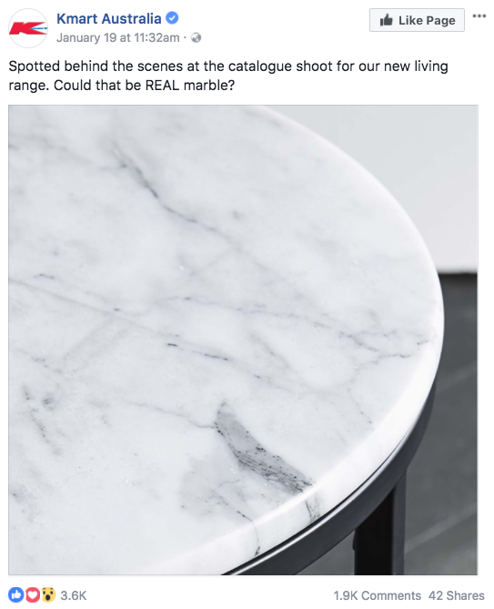 After sharing a preview of the side table a few weeks ago, the Kmart post has received thousands of likes and reactions. Photo: Facebook/Kmart Australia