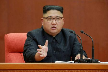 FILE PHOTO - KCNA picture of North Korean leader Kim Jong Un speaking during the Second Plenum of the 7th Central Committee of the Workers' Party of Korea
