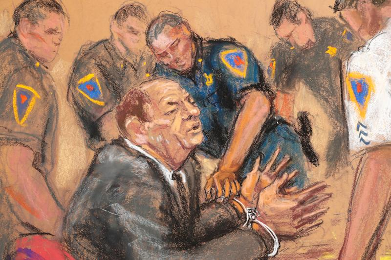 Artist Jane Rosenberg captured Harvey Weinstein as he was handcuffed in a Manhattan courtroom on Monday. (Photo: REUTERS/Jane Rosenberg)