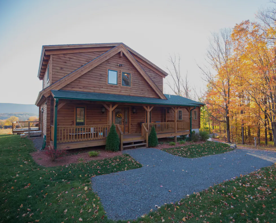 """<h2>The Catskills, New York<br></h2><br><strong>Location:</strong> Prattsville, NY<br><strong>Sleeps:</strong> 9<br><strong>Price Per Night:</strong> <a href=""""https://airbnb.pvxt.net/oeNE1b"""" rel=""""nofollow noopener"""" target=""""_blank"""" data-ylk=""""slk:$401"""" class=""""link rapid-noclick-resp"""">$401</a><br><br>""""Newly constructed log cabin home situated in the heart of the Catskill Mountains, conveniently located between Hunter and Windham! Our home features an open floor plan, with floor-to-ceiling windows that give you the perfect view of the surrounding mountains. Our large fireplace and huge kitchen make this home ideal for getaways with family and friends!""""<br><br><h3>Book <a href=""""https://airbnb.pvxt.net/oeNE1b"""" rel=""""nofollow noopener"""" target=""""_blank"""" data-ylk=""""slk:Log Cabin Retreat"""" class=""""link rapid-noclick-resp"""">Log Cabin Retreat</a></h3>"""