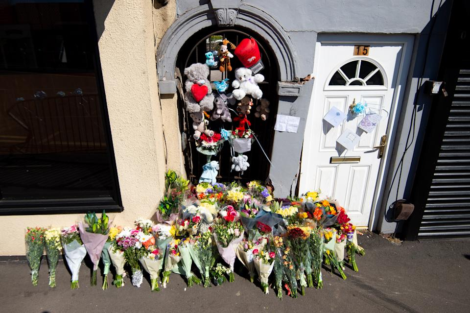 Flowers and tributes left at the Brownhills scene.